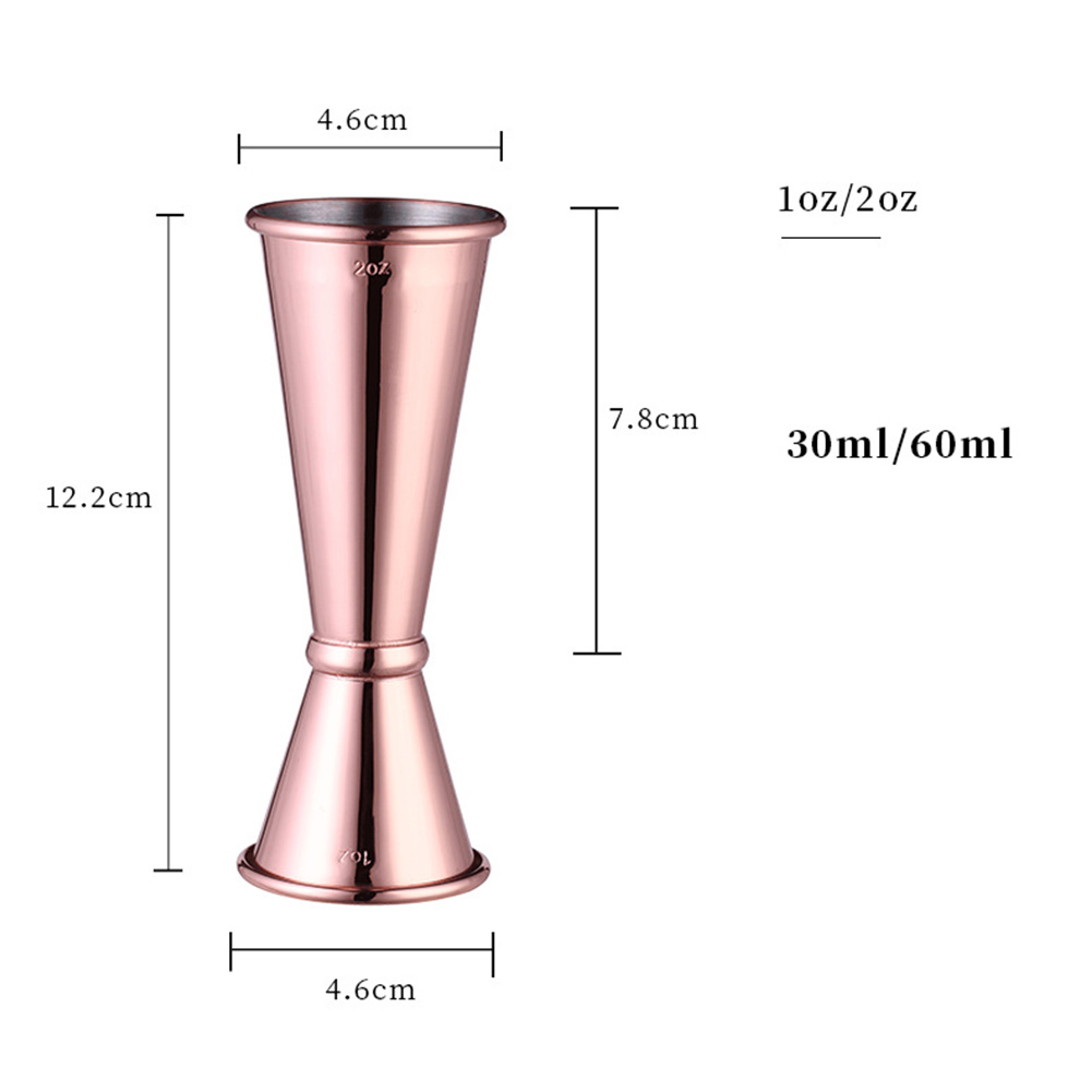 304 Stainless Steel Double Measuring Cup Curling Cup  1oz/2oz copper plating