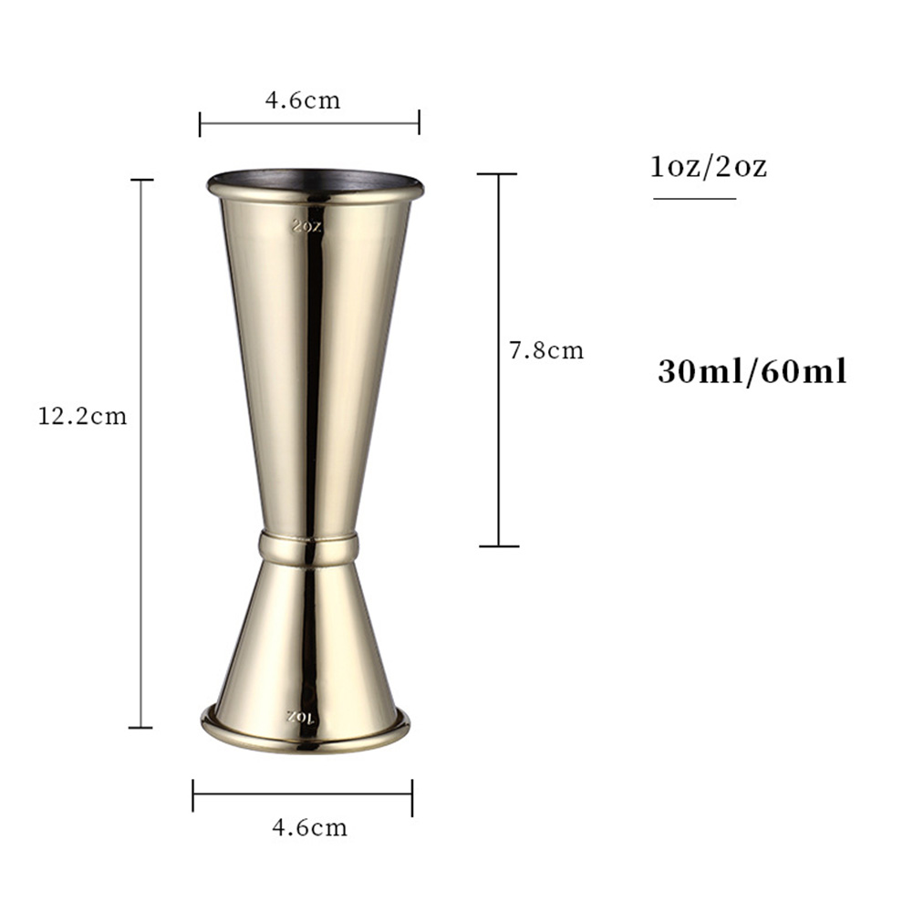 304 Stainless Steel Double Measuring Cup Curling Cup  1oz/2oz gold plated