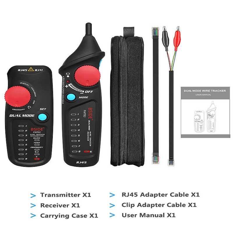 Dual Mode Network Cable Tracker Wire Toner RJ45 RJ11 Ethernet LAN Tracer Analyzer Detector Line Finder Black + red