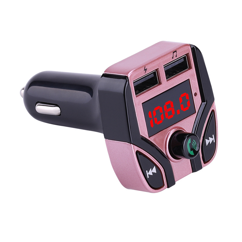 Car MP3 Player FM Transmitter Multifunction Hands-free Call Car Bluetooth Player USB Charger TF Card Support Rose gold
