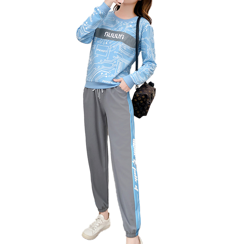 Women's Suit Autumn and Winter Casual Loose Sports Long-sleeved Top+ Trousers Light blue_L
