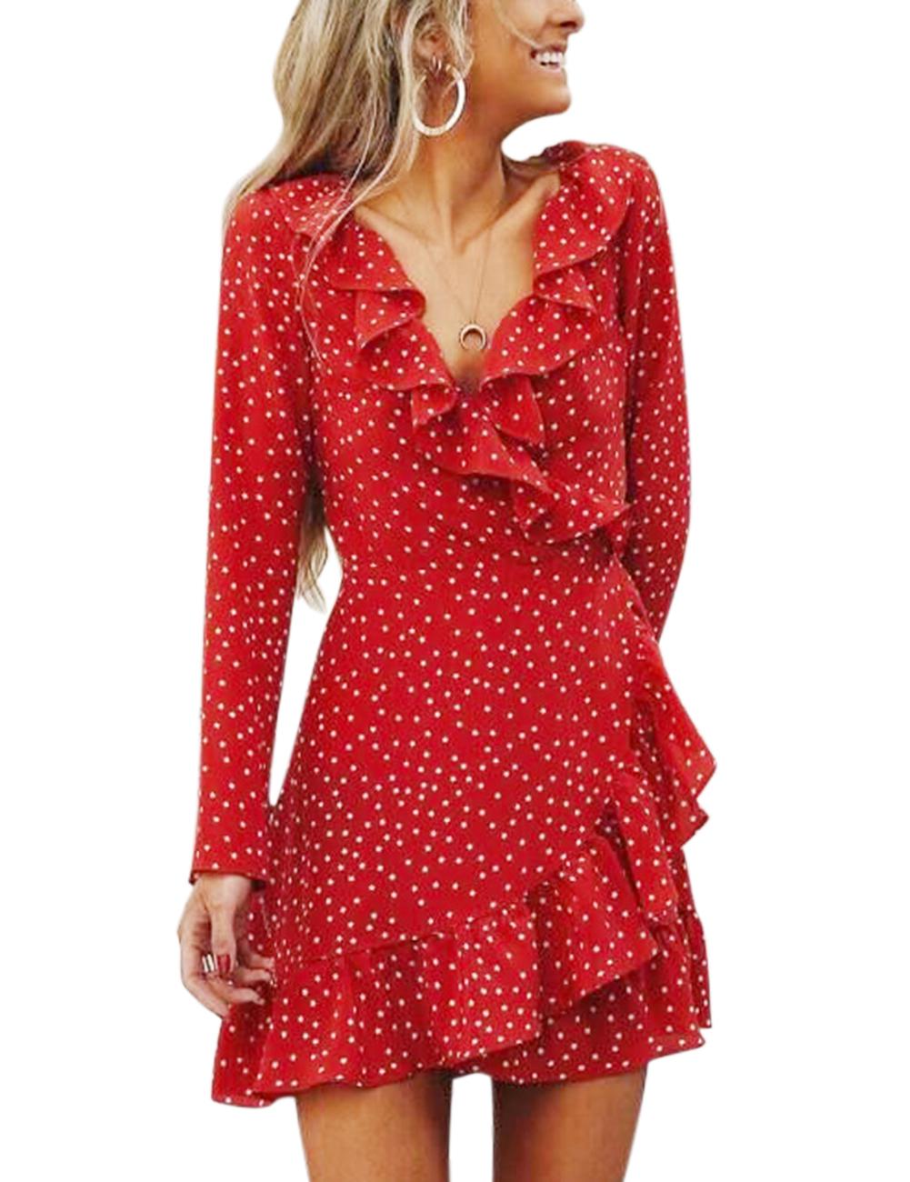 Adult Women Irregular Falbala Stars Deep V-neck Long Sleeve Chiffon Dress Flared Skirt red_XL