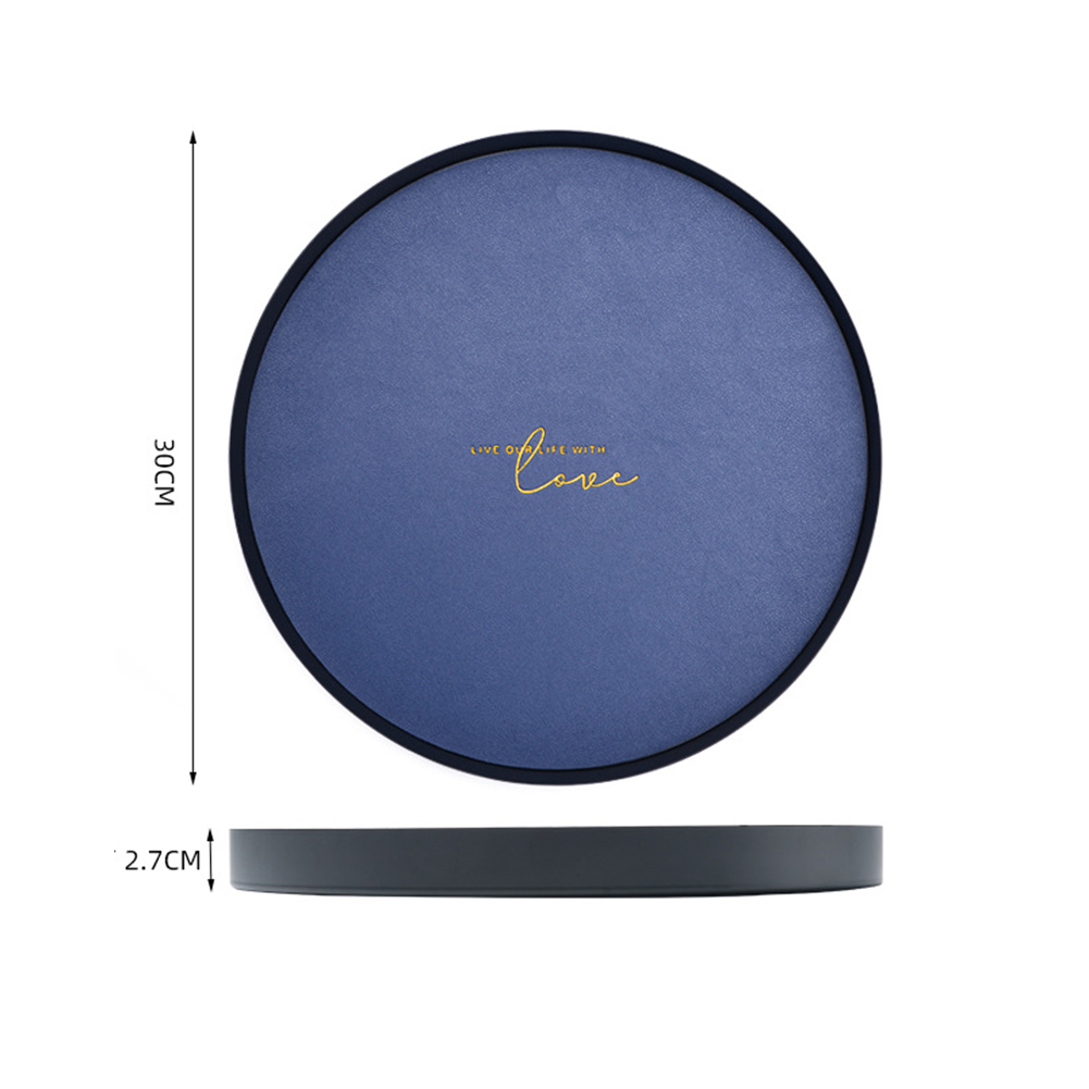 Large Capacity Geometric Storage Tray with Leather Pad  Royal blue_Round large
