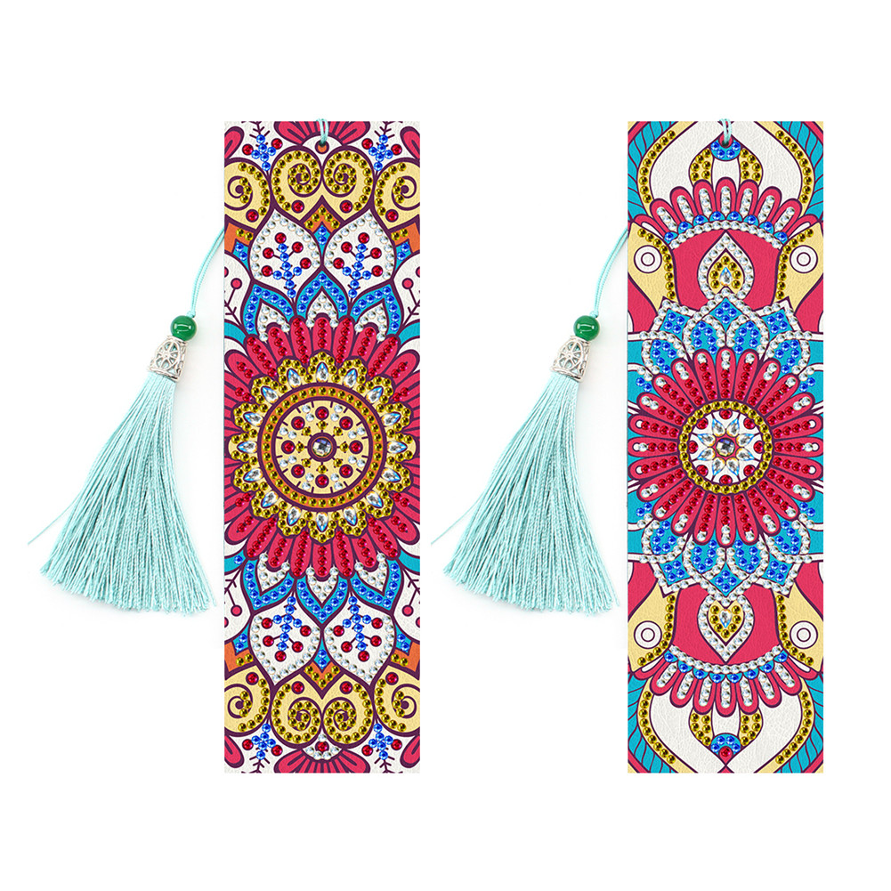 5D Diamond Painting Leather Bookmark with Tassel Special Shaped Diamond Embroidery DIY Craft