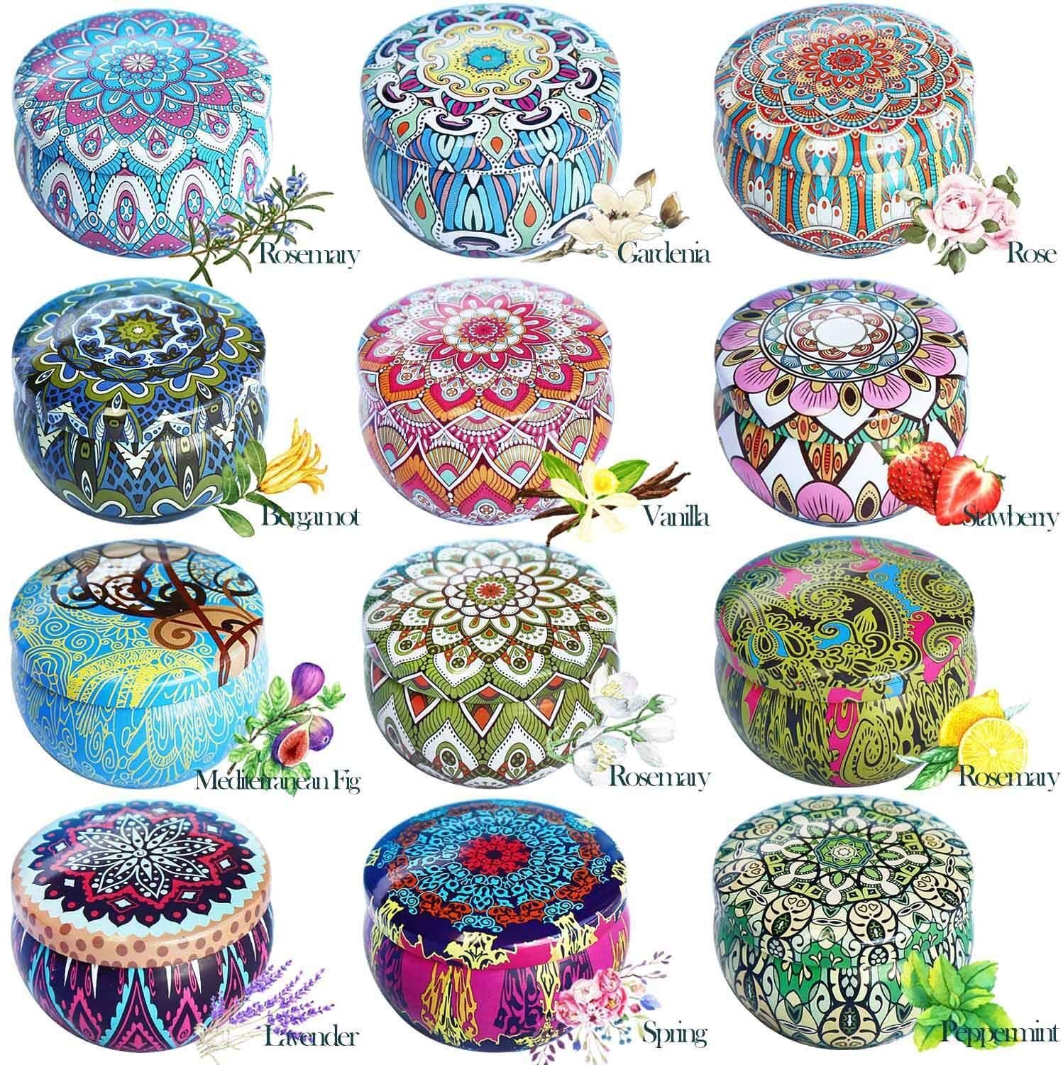 12Pcs/Set Soy Wax Scented Candles Ethnic Style for Travel Home Wedding Birthday Decoration 23 * 15.8 * 10cm