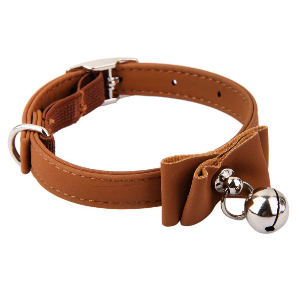 Stylish Cute Pet Dog Cat Bell Bowknot Collar Adjustable Necklace Pet Supplies Brown