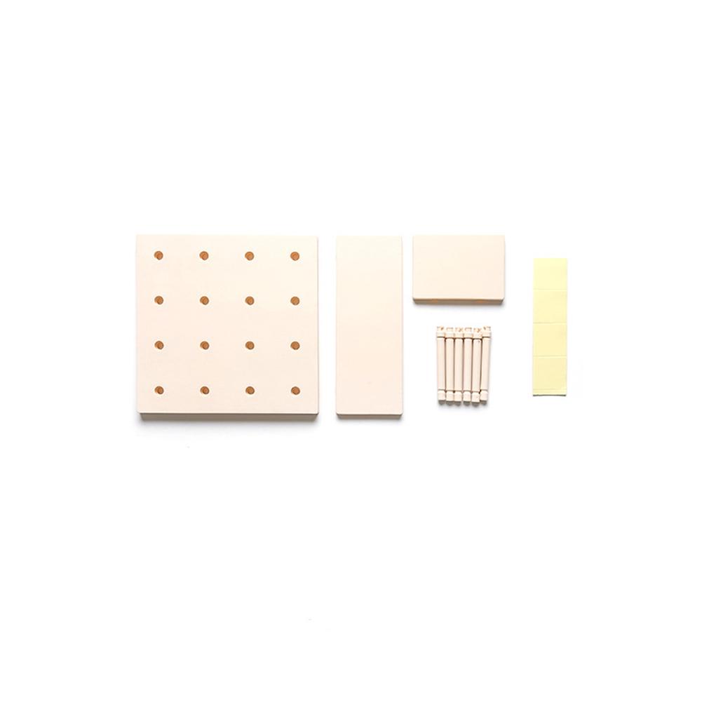Stylish Plastic Peg Board Wall-mounted Storage Shelf Kitchen Hone Decoration Beige