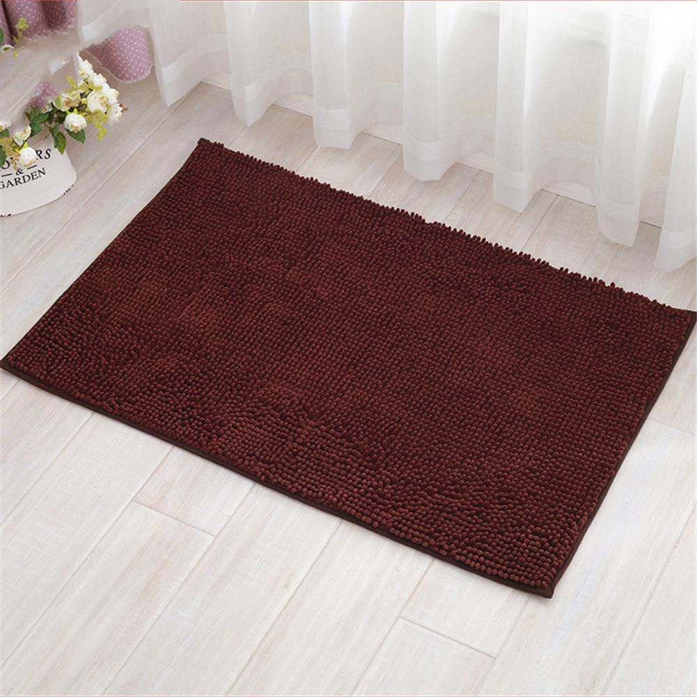 Chenille Bath Mat Non-Slip Water Absorption Floor Mat for Kids Bathroom Shower Mat Area Rugs  coffee_60*90cm