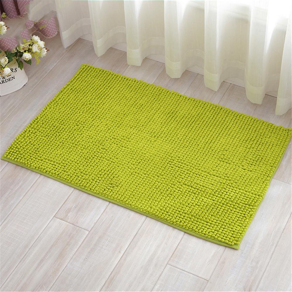 Chenille Bath Mat Non-Slip Water Absorption Floor Mat for Kids Bathroom Shower Mat Area Rugs  grass green_60*90cm
