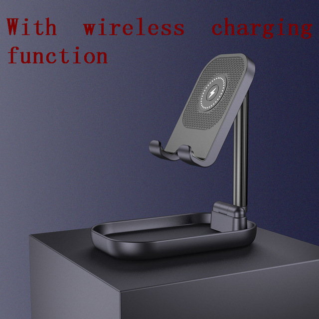 Adjustable Desk Phone Stand 10W Fast Wireless Charge Holder Plastic Retractable Portable Lazy Bracket For IPhone IPad black