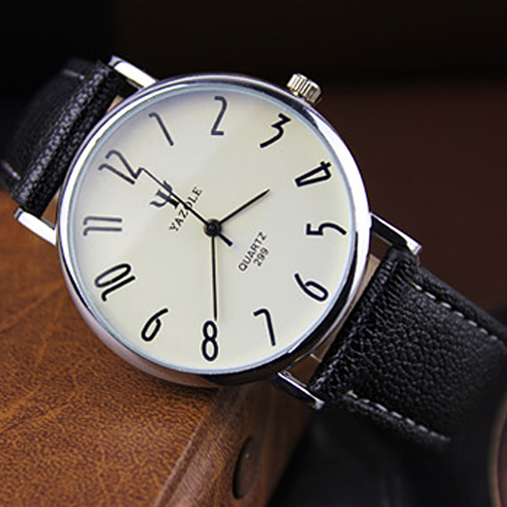 Unisex Casual Business Style Leather Strap Waterproof Classic Watch Large white dial black belt