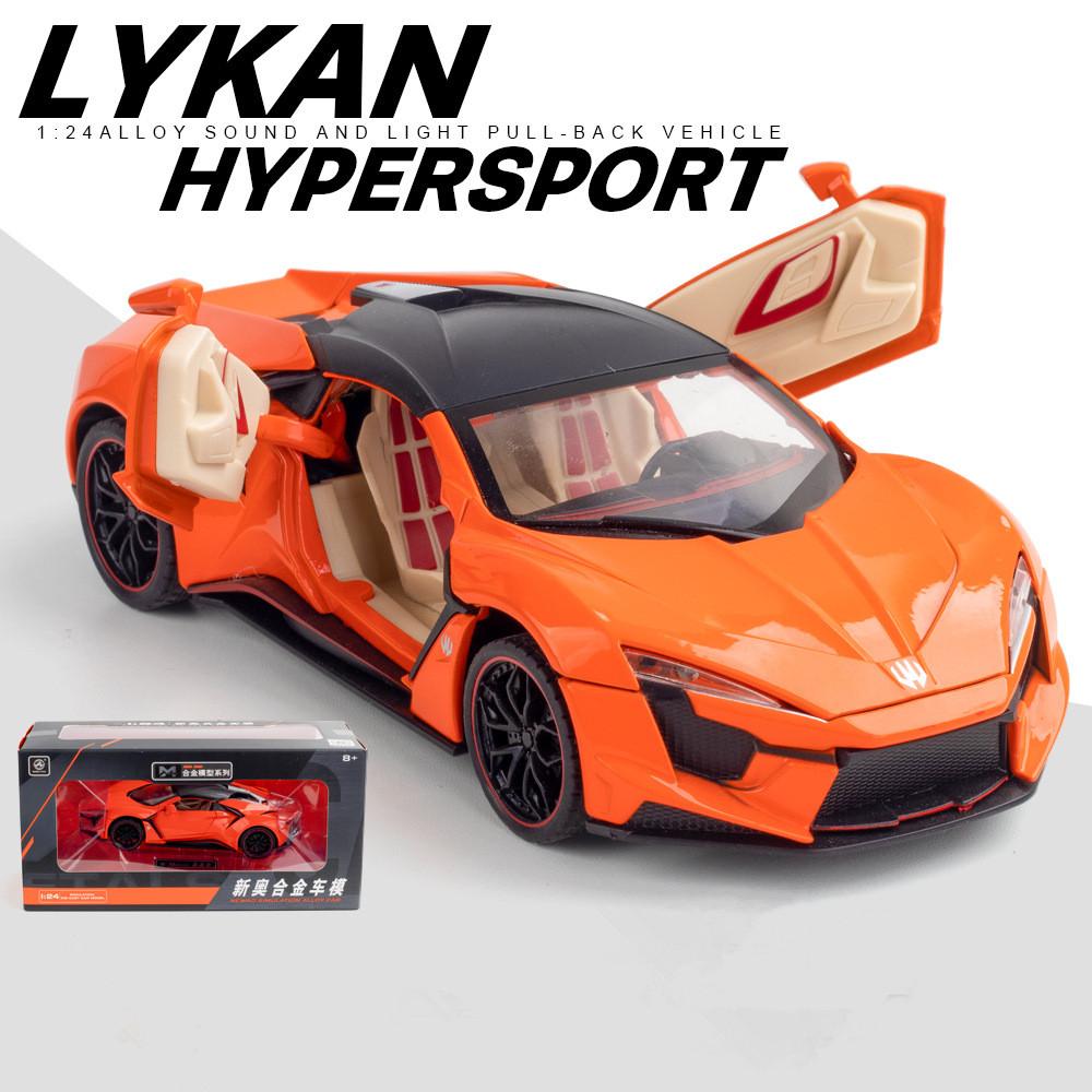 1/24 Alloy Sports Car Model  Toy Pull Back Sound Light Toys Vehicle For Children Kids Gift Orange