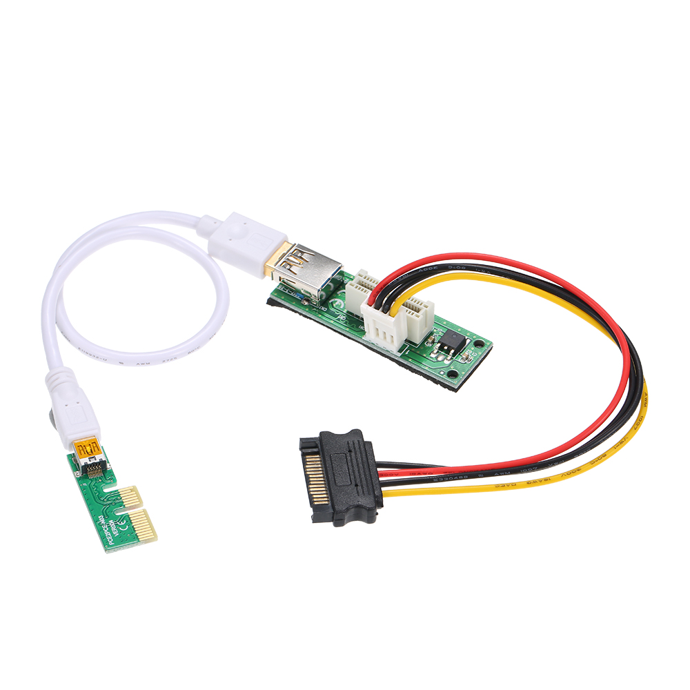 Mini USB Cable and SATA Cable PCI-E X1 Extension Cable PCIE 1X Expansion Riser Card 90°Right Angle