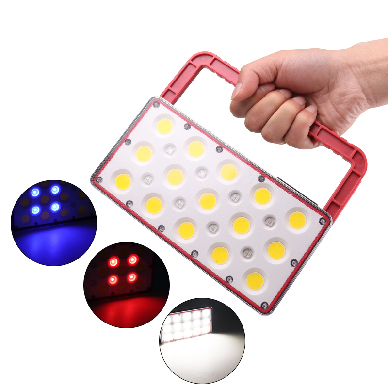 Led Portable Work Light USB Rechargeable Lamp for Outdoor Camping 5 COB +Red+Blue Light Pink_Model 8022