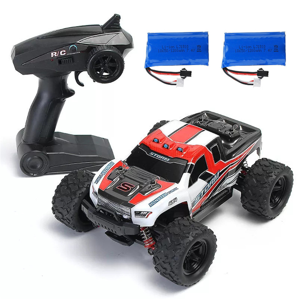 HS 18301/18302 1/18 2.4G 4WD 40 + MPH High Speed Big Foot RC Racing Car OFF-Road Vehicle Toys  red 2 batteries