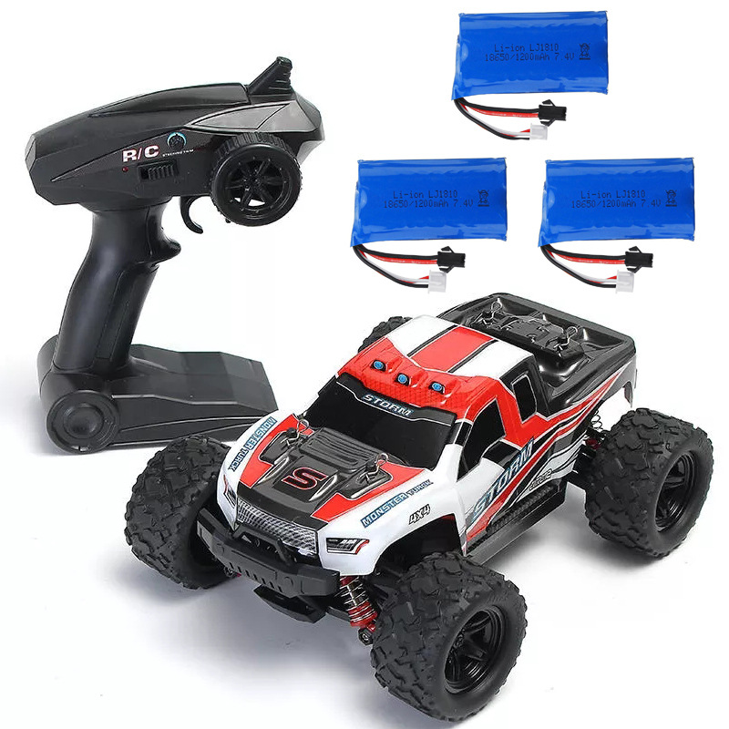 HS 18301/18302 1/18 2.4G 4WD 40 + MPH High Speed Big Foot RC Racing Car OFF-Road Vehicle Toys  red 3 batteries
