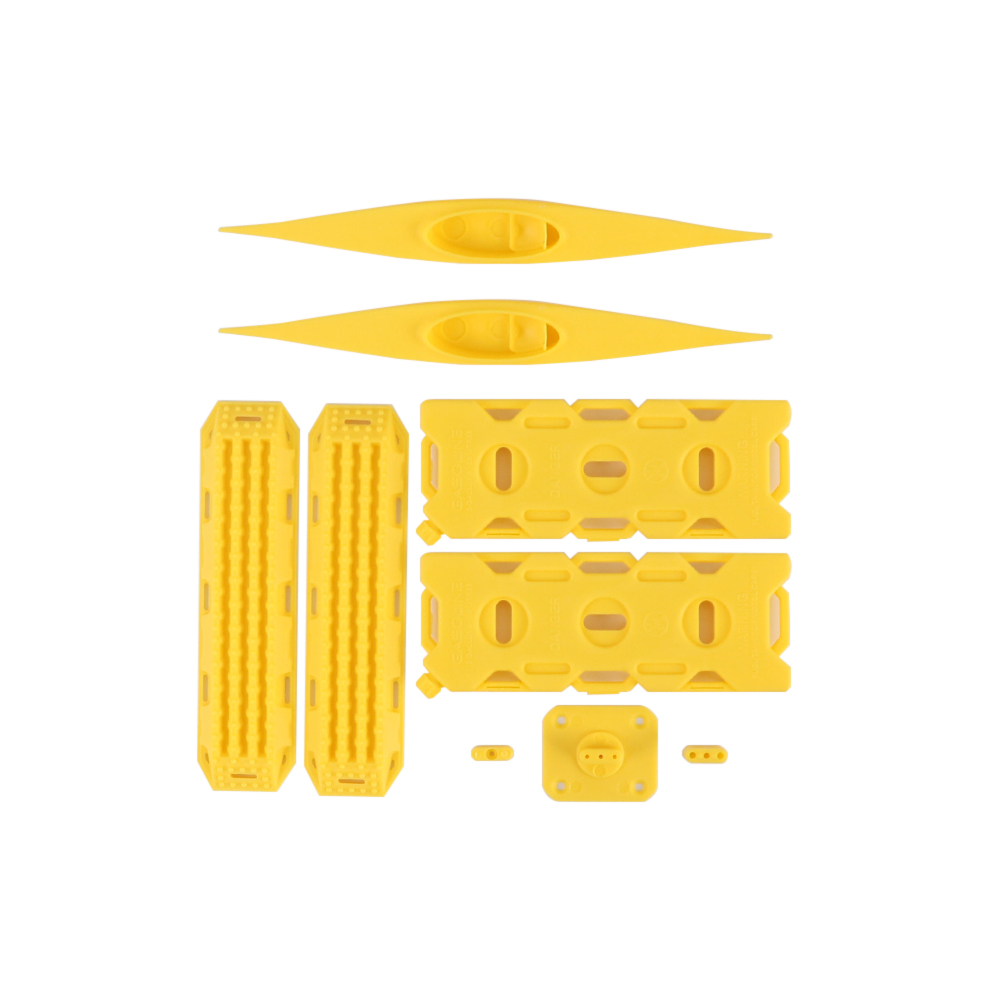 Decoration Sand Ladder Recovery Board+Canoe+Simulation Fuel Tank for 1/10 RC Crawler Car yellow