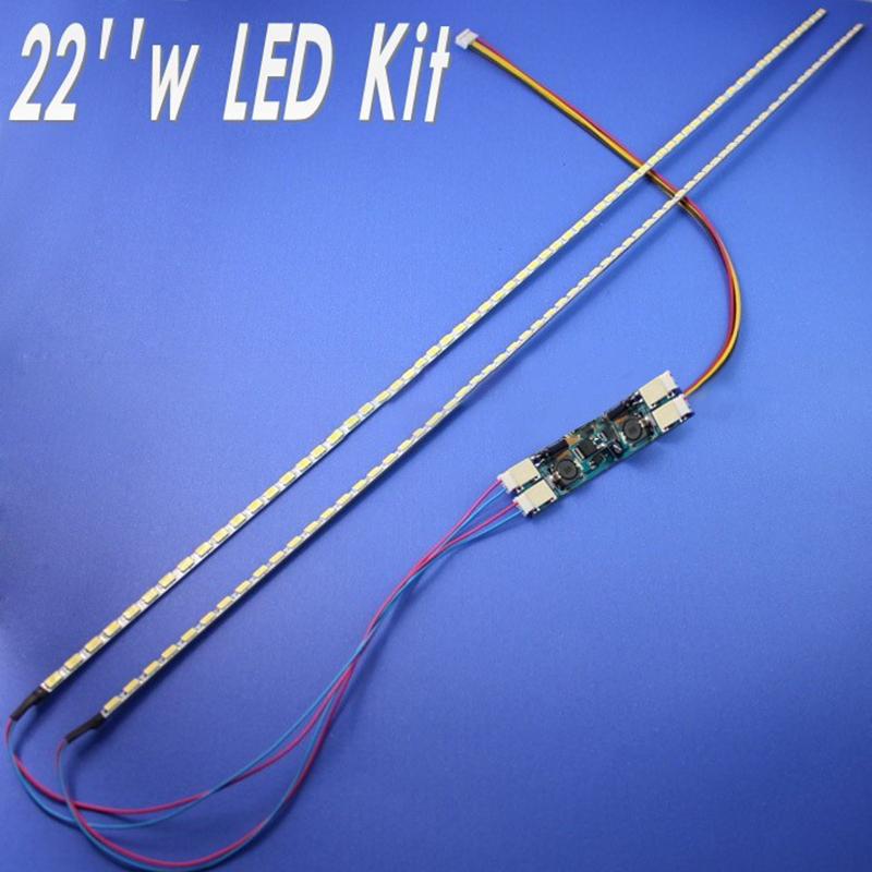 22 inch Wide LED Backlight Lamps Update Kit Adjustable LED Light for LCD Monitor 2 LED Strips White light