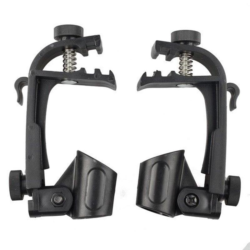 2 Pcs Adjustable Clip On Drum Rim Shock Mount Microphone Mic Clamp Holder  black