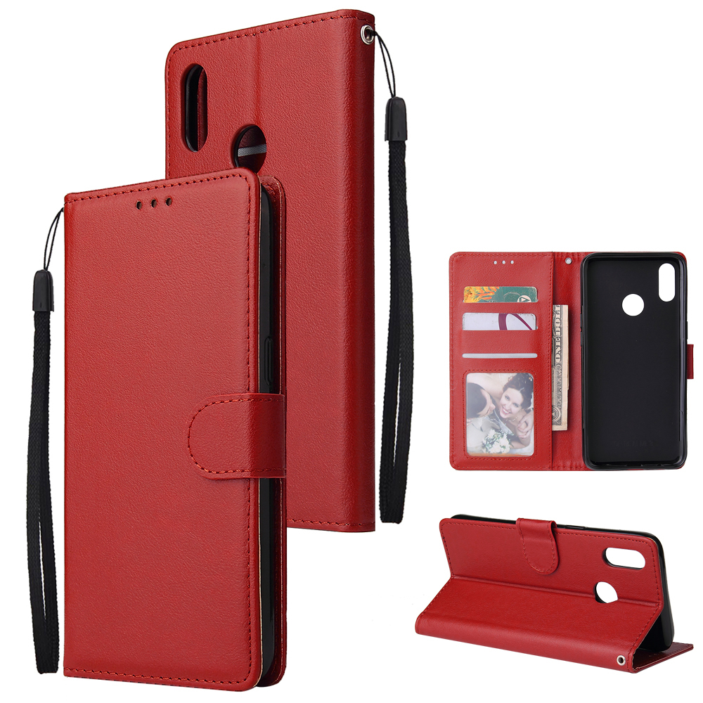 For OPPO Realme 3 Wallet-type PU Leather Protective Phone Case with Buckle & 3 Card Position red