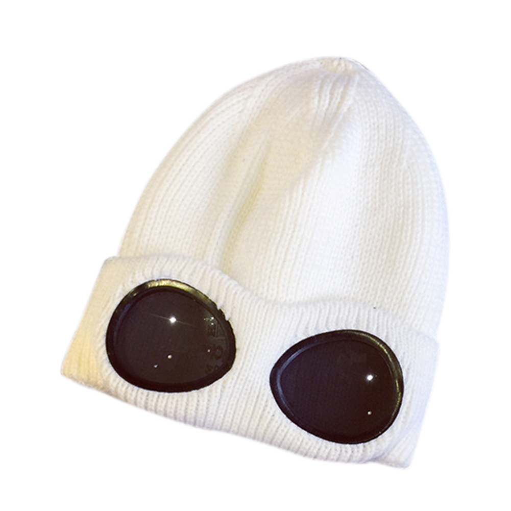 Warm Woolen Yarn Skiing Hat with Fake Windproof Glasses Stylish Knitted Cap New Year Christmas Gift