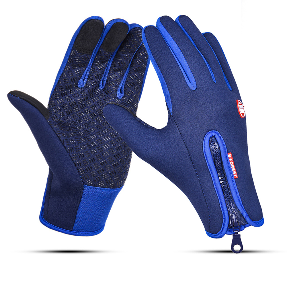Waterproof Sports Gloves Touch Screen Glove Anti Slip Palm for Driving Cycling Skiing Dark Blue_M