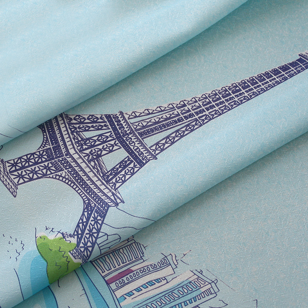 Cartoon Window Curtain with Hot Air Balloon Pattern Half Shading Drapes for Living Room Balcony As shown_1.5 * 2 meters high