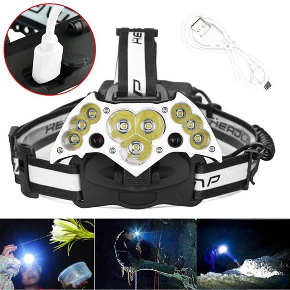 [US Direct] Head Lamp 200000lm 11led Usb Rechargeable Work Flashlight For Running Camping Fishing Biking black