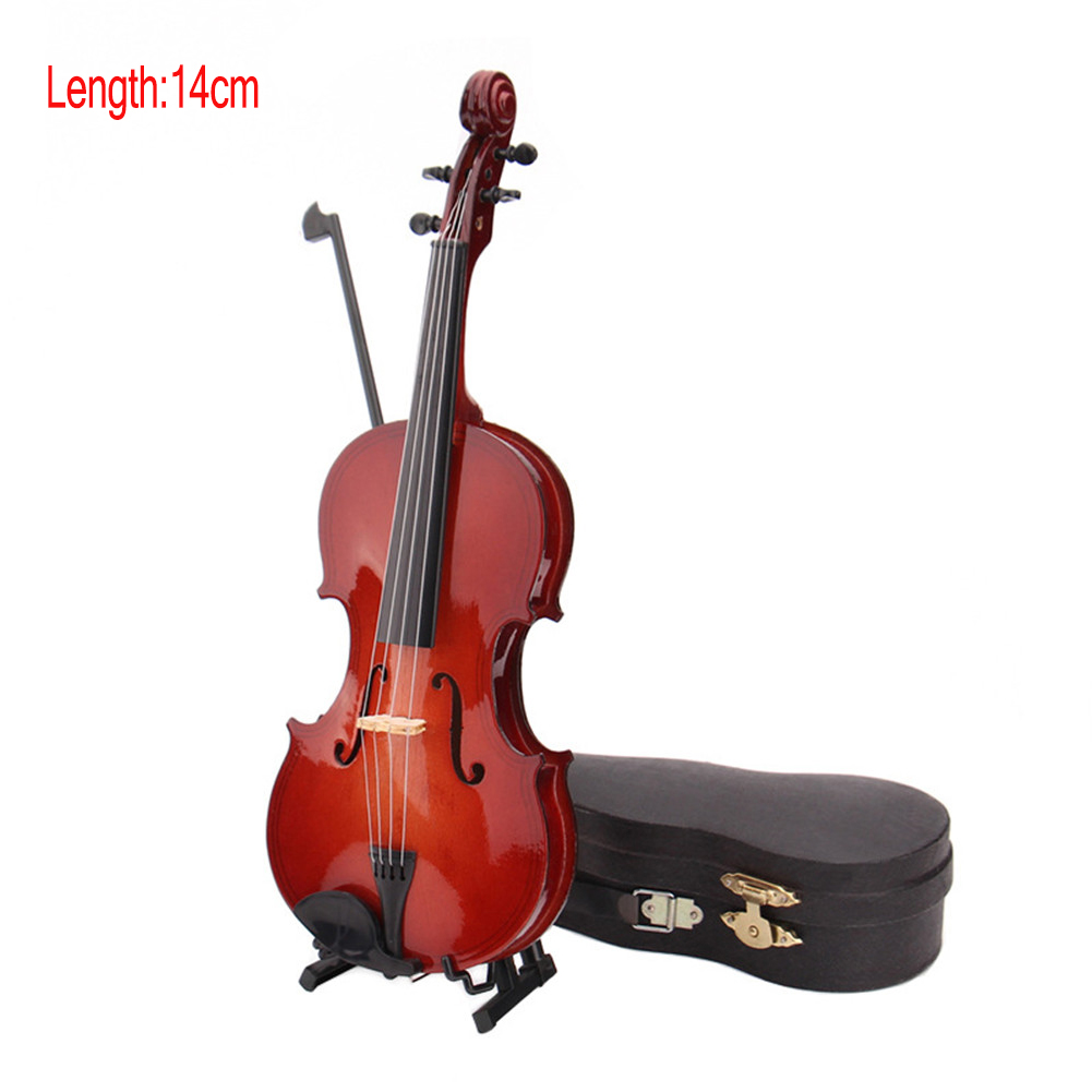 Mini Miniature Violin Model  with Stand and Case Mini Musical Instrument Ornaments  With violin case