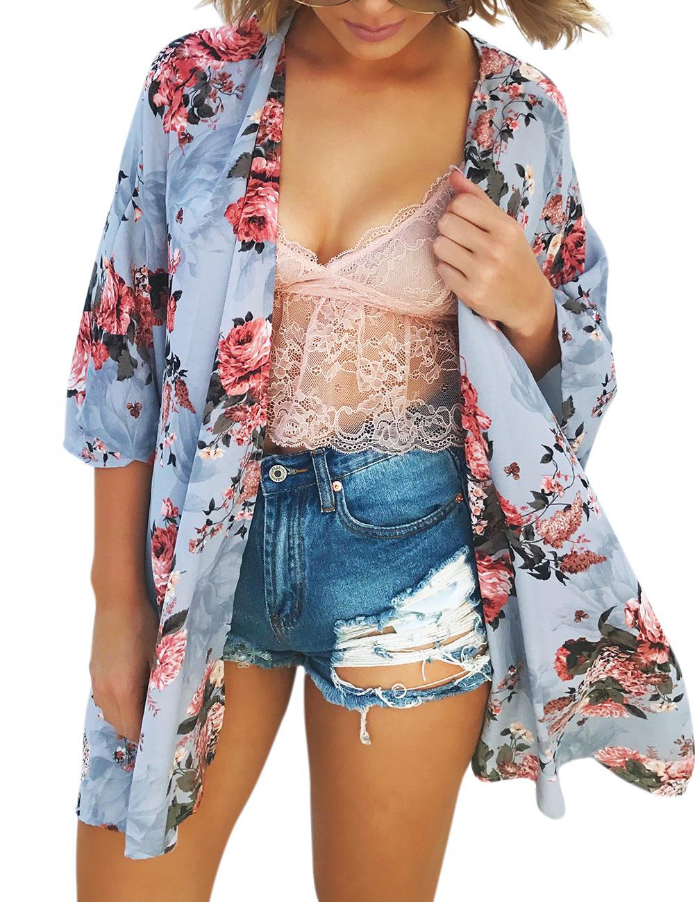 Women Summer Cardigan Western Stylish Chiffon Sun Block Kimono