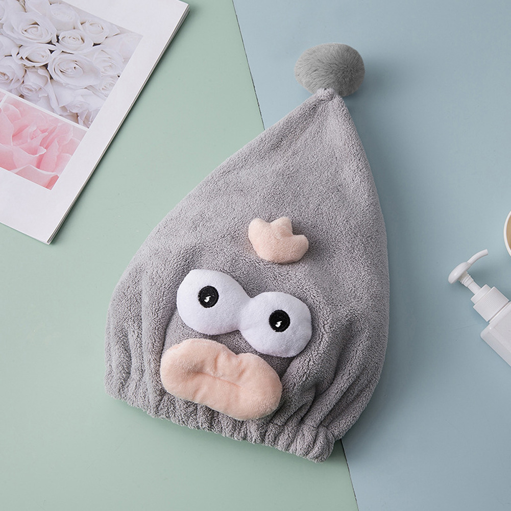 Dry Hair Hat Cartoon Quick Dry Water Absorption Coral Fleece Shower Cap Grey_25 * 40cm