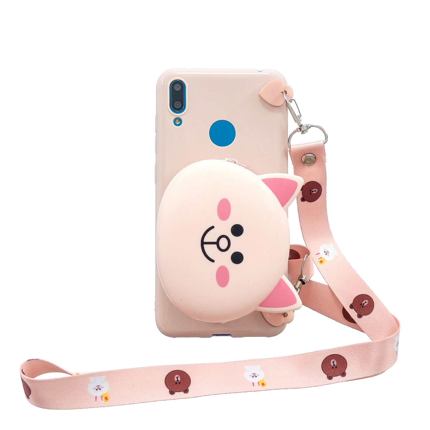 For HUAWEI Y6/Y7 Prime 2019 Cellphone Case Mobile Phone Shell Shockproof TPU Cover with Cartoon Cat Pig Panda Coin Purse Lovely Shoulder Starp  Pink