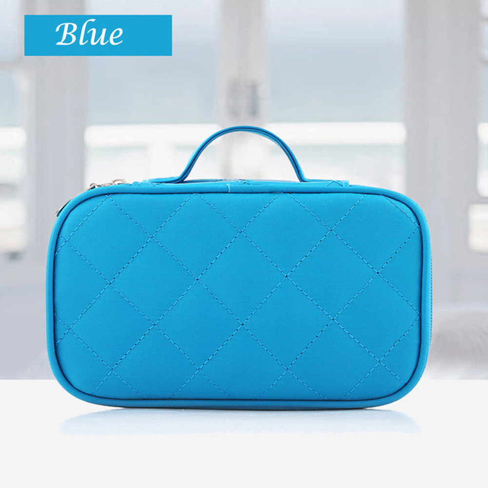 Portable Double Layer Travel Makeup Toiletry Case Pouch Diamond Lattice Cosmetic Bag