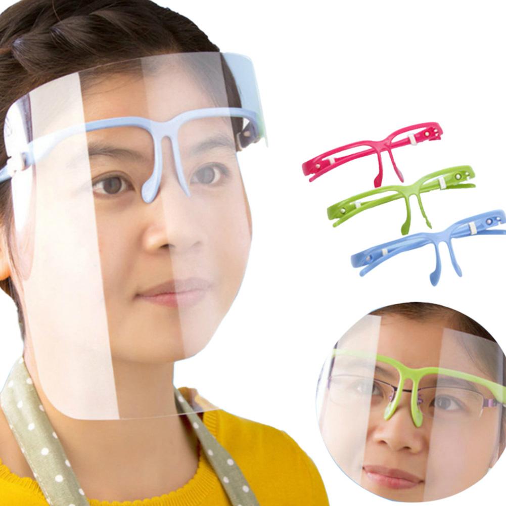 Transparent Protective Face Shield Anti-fog Anti-splash Anti-droplets Mask Veil with Nose Clip Random Color