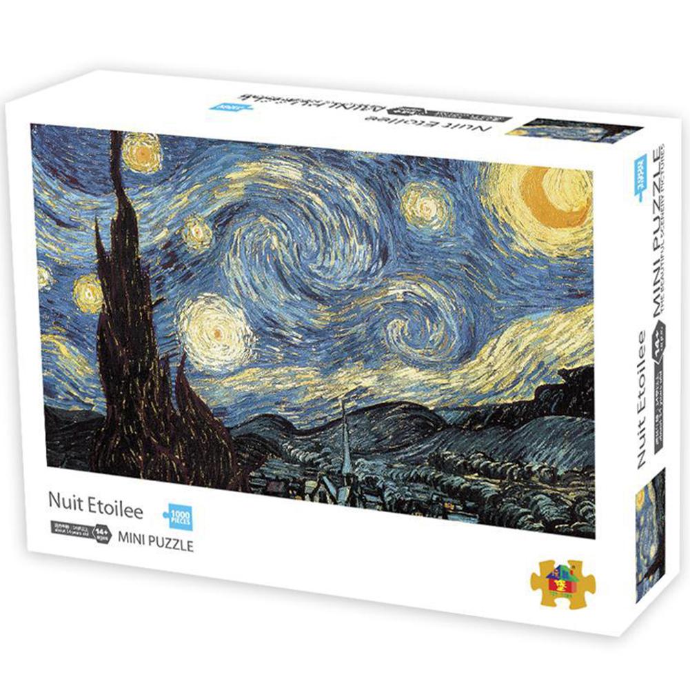 1000 PCS Mini Puzzles Painting Challenge Paper Puzzles DIY Decompression Toy 49394-1 starry sky