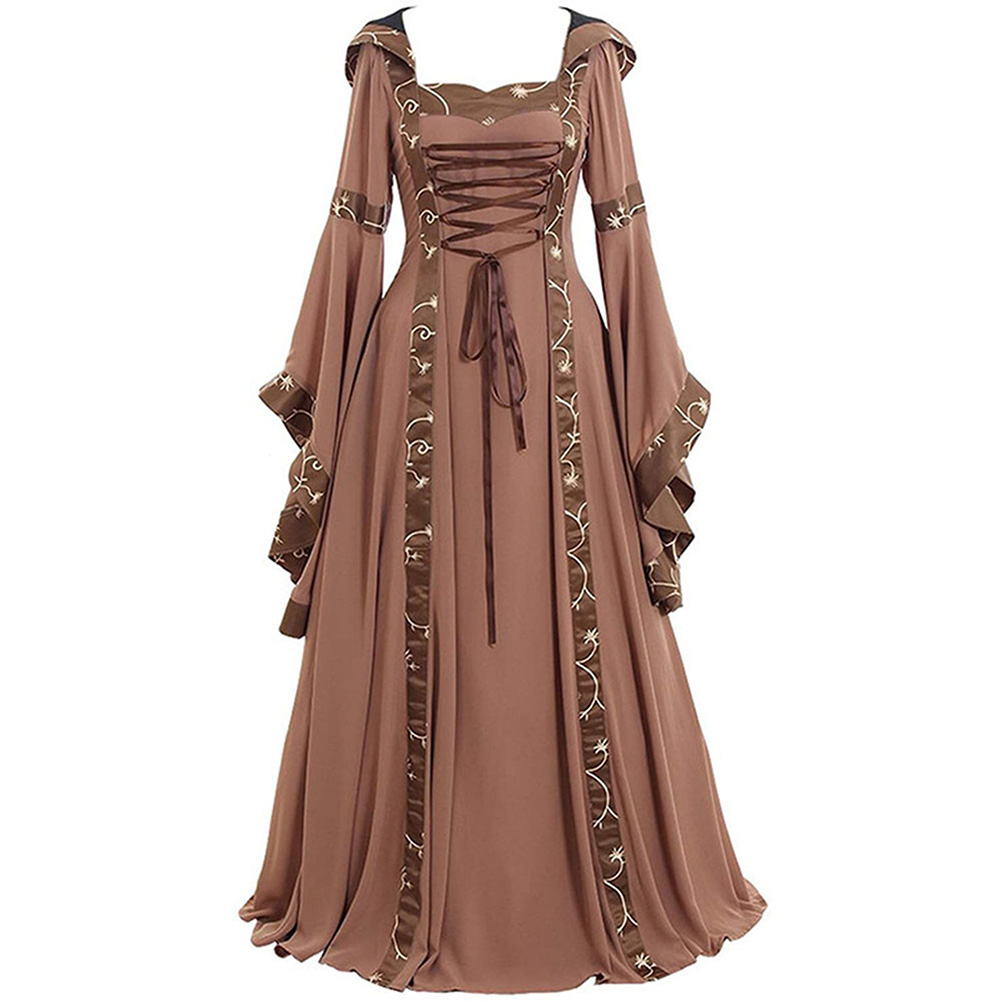 Women Medieval Retro Hooded Dress Square Collar with Trumpet Sleeves Big Swing Dress Halloween Christmas Suit Khaki_2XL