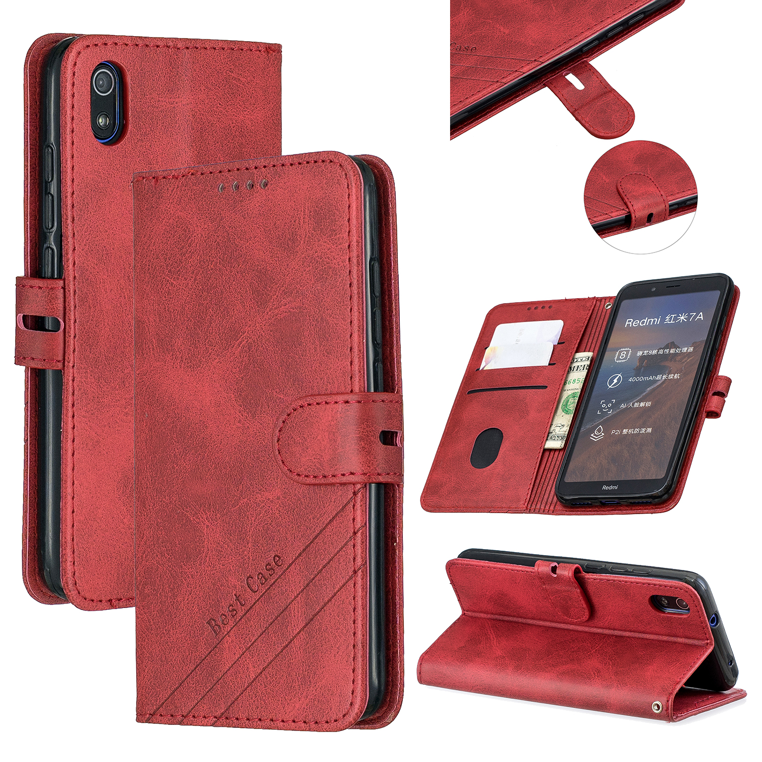 For Redmi 7A Denim Pattern Solid Color Flip Wallet PU Leather Protective Phone Case with Buckle & Bracket red