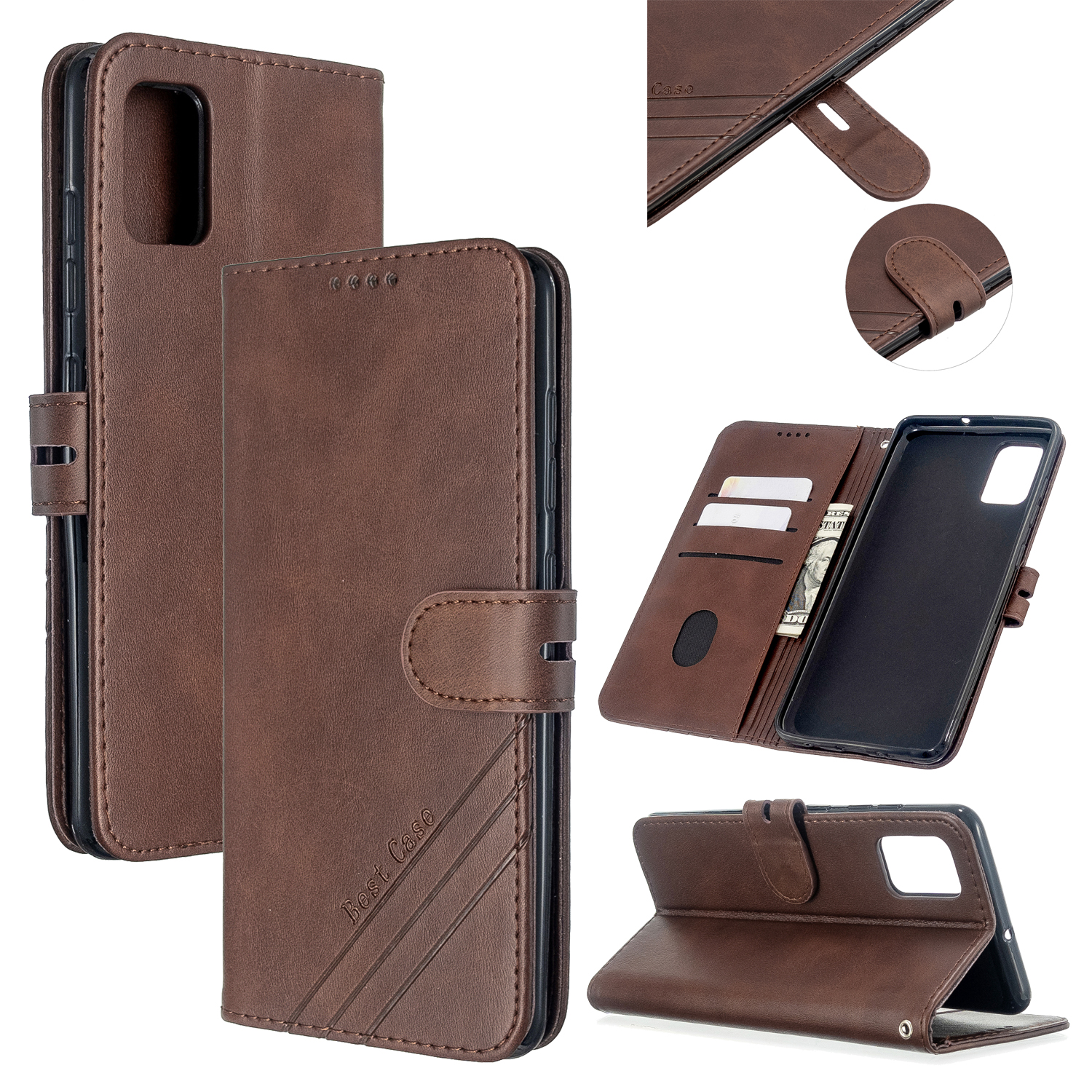 For Samsung A51/A71/M30S Case Soft Leather Cover with Denim Texture Precise Cutouts Wallet Design Buckle Closure Smartphone Shell  brown