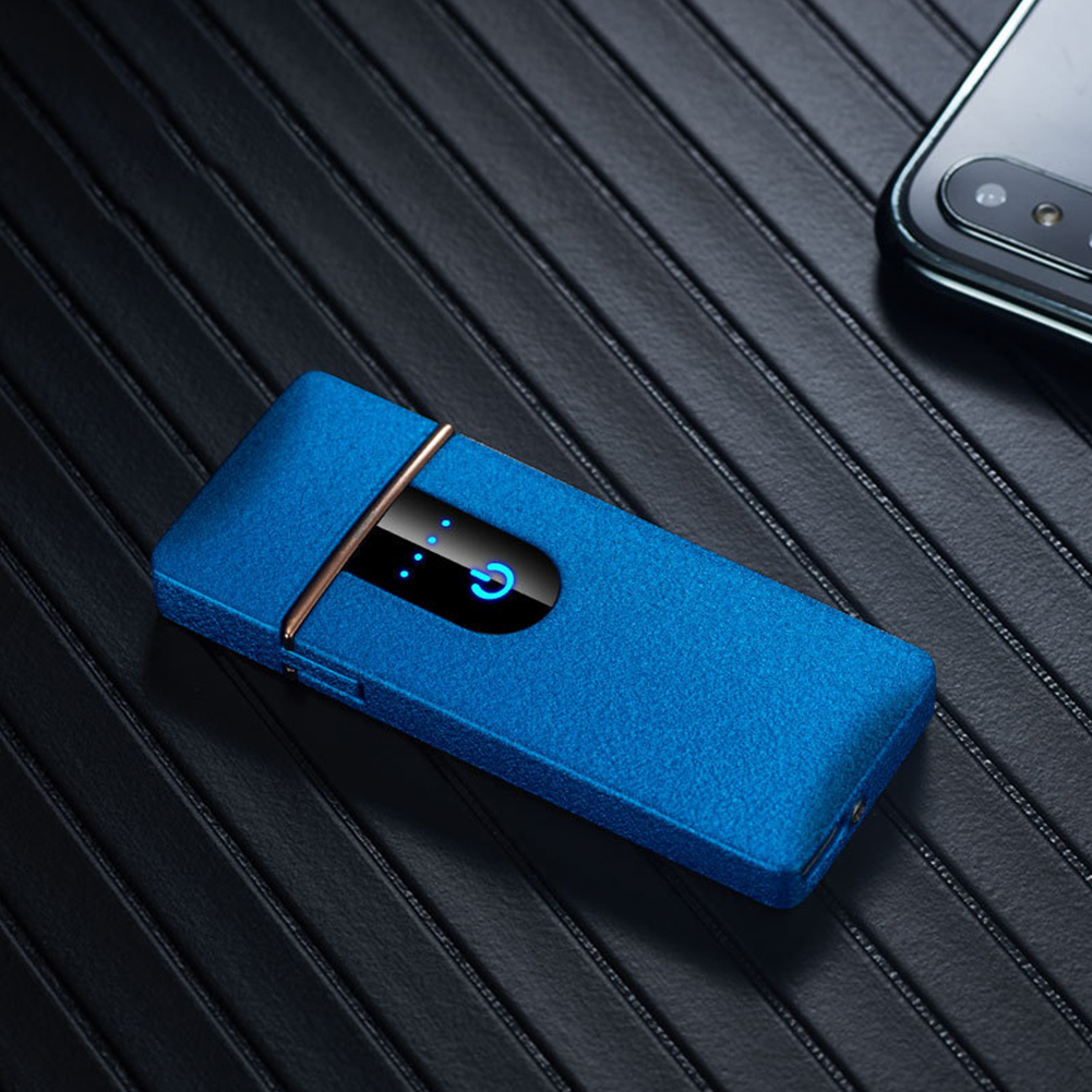 Ultra-thin Touch Sensor Cigarette Lighter USB Rechargeable Metal Lighters Flameless Lighters Blue matte_CW006