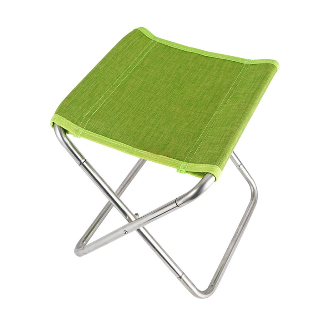 Stainless Steel Spring Folding Chair Outdoor Fishing Chair Camping Barbecue Folding Stool green