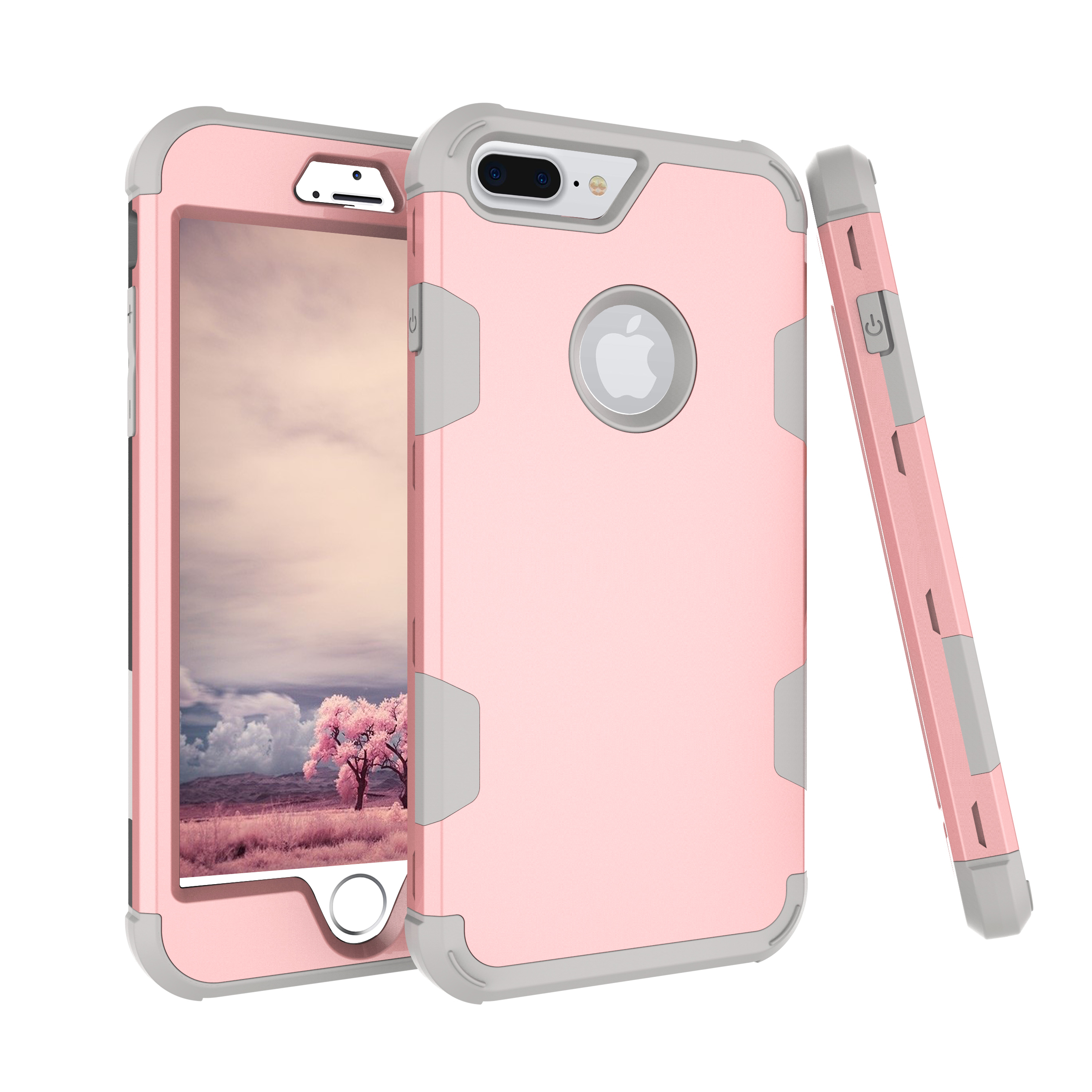 For iPhone 7 plus PC+ Silicone 2 in 1 Hit Color Tri-proof Shockproof Dustproof Anti-fall Protective Cover Back Case Rose gold + gray