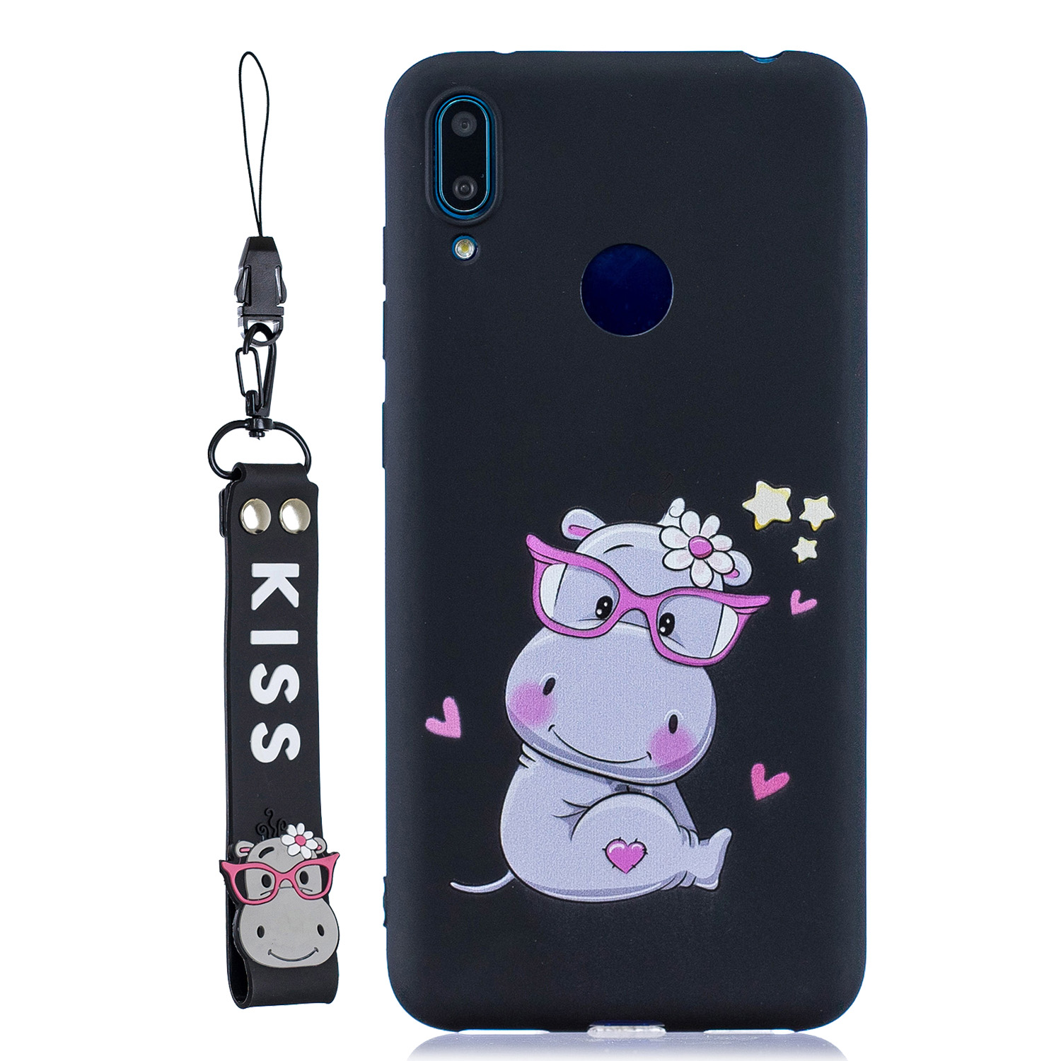 For HUAWEI Y7 2019 Cute Coloured Painted TPU Anti-scratch Non-slip Protective Cover Back Case with Lanyard black