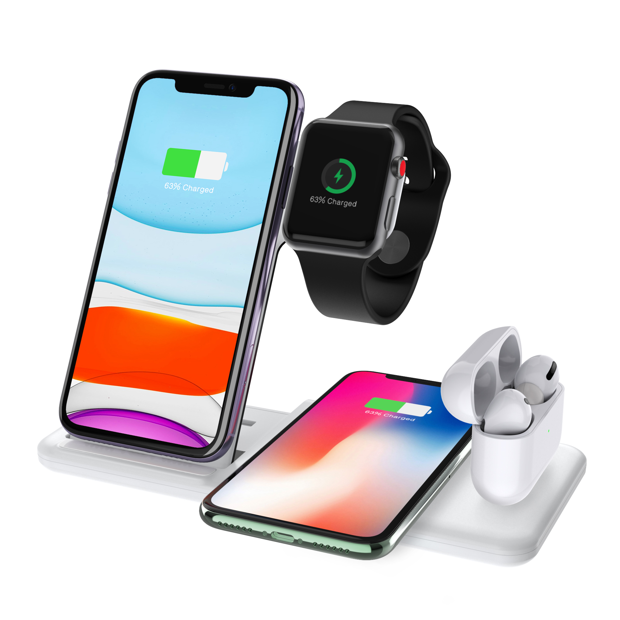 4-In-1 QI Fast Wireless Charger Dock For iPhone Apple Watch iWatch for Airpods Charger Holder Stand white
