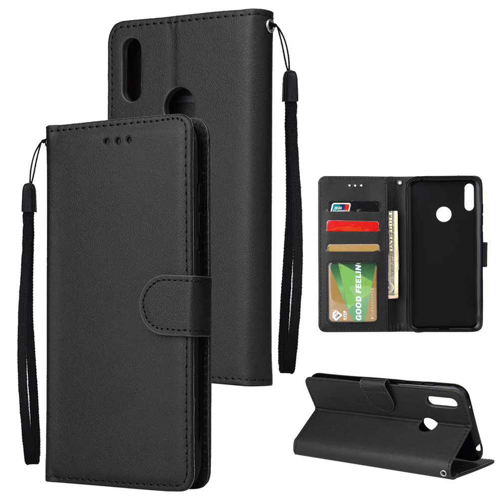 For HUAWEI Enjoy 9/ Y7 2019 /Y7 PRO 2019/Y7 PRIME 2019 Flip-type Leather Protective Phone Case with 3 Card Position Buckle Design Phone Cover  black