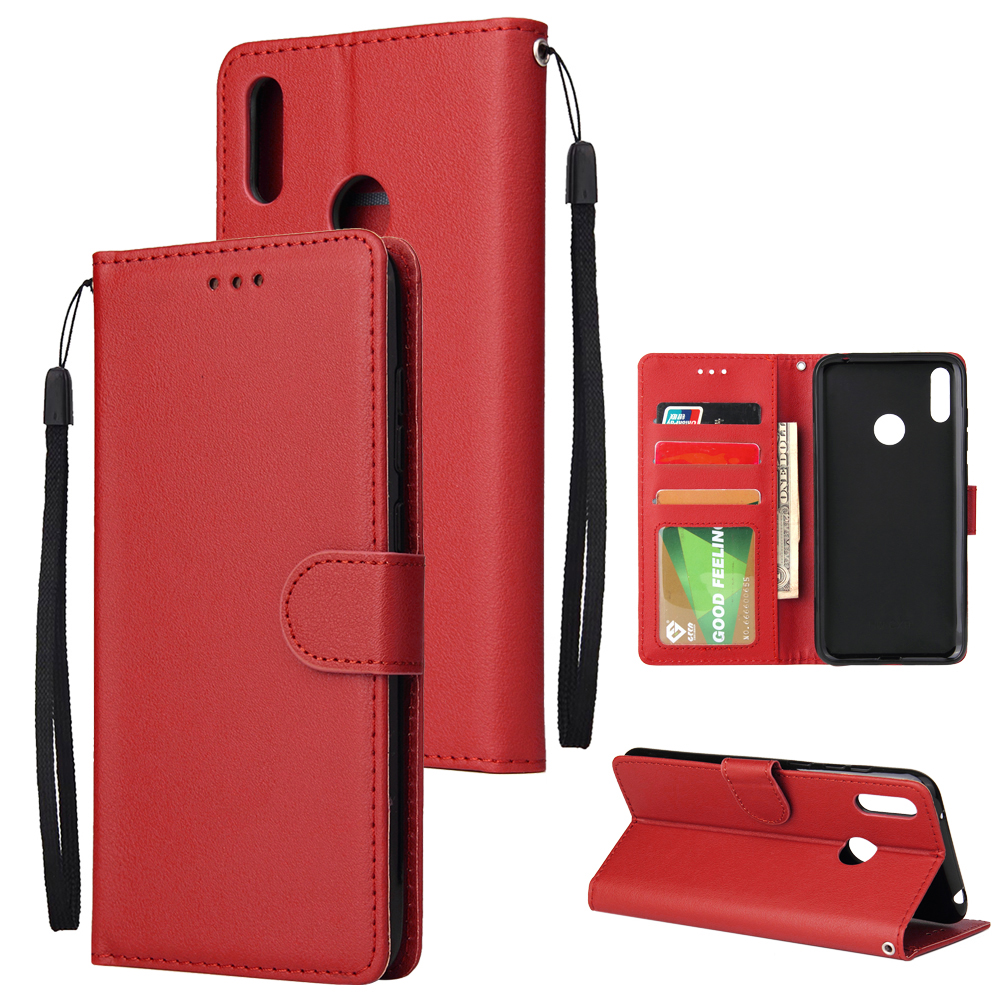 For HUAWEI Enjoy 9/ Y7 2019 /Y7 PRO 2019/Y7 PRIME 2019 Flip-type Leather Protective Phone Case with 3 Card Position Buckle Design Phone Cover  red