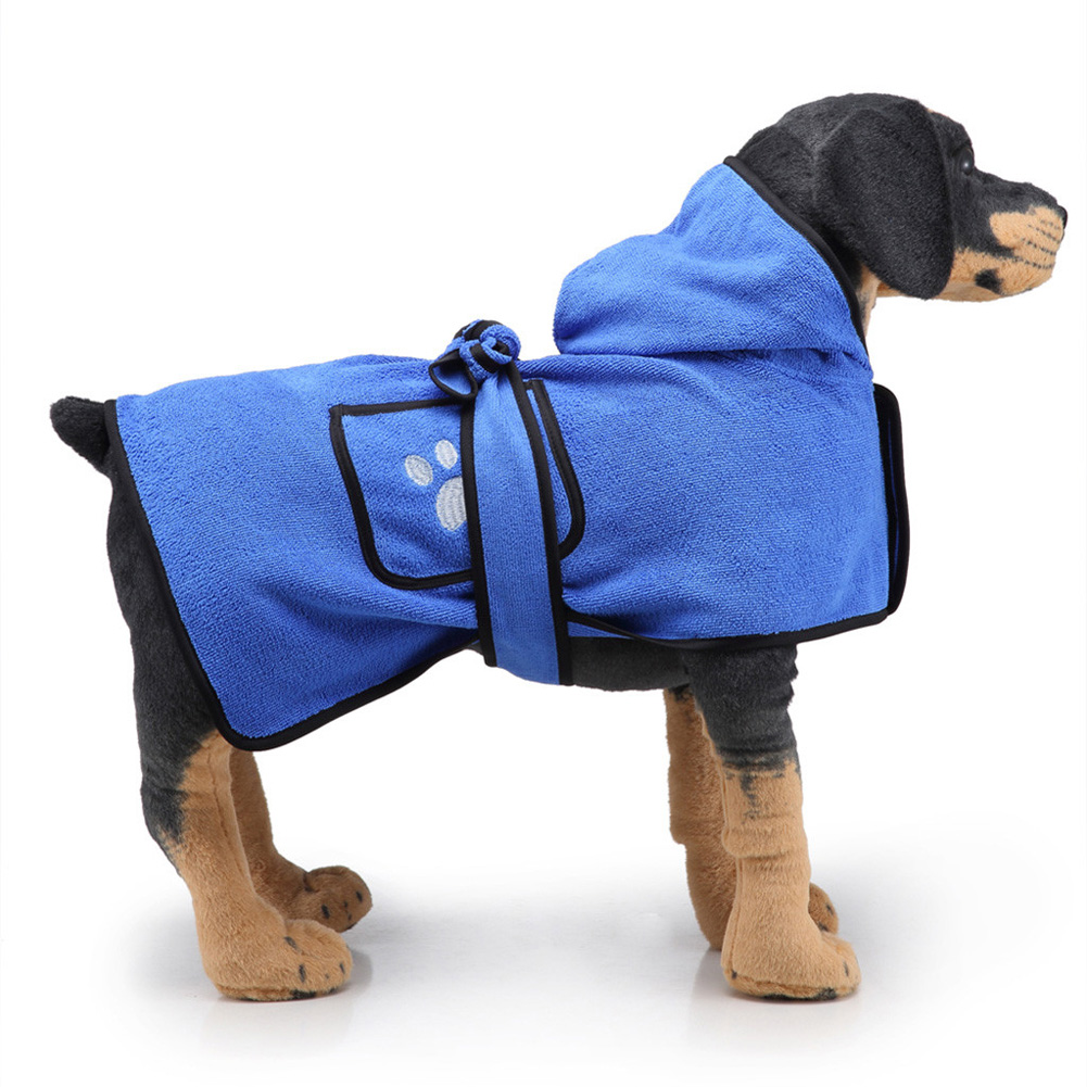Pet Thick Bath Towel Cat Dog Quick-drying Pet Cloak Bathrobe blue_S