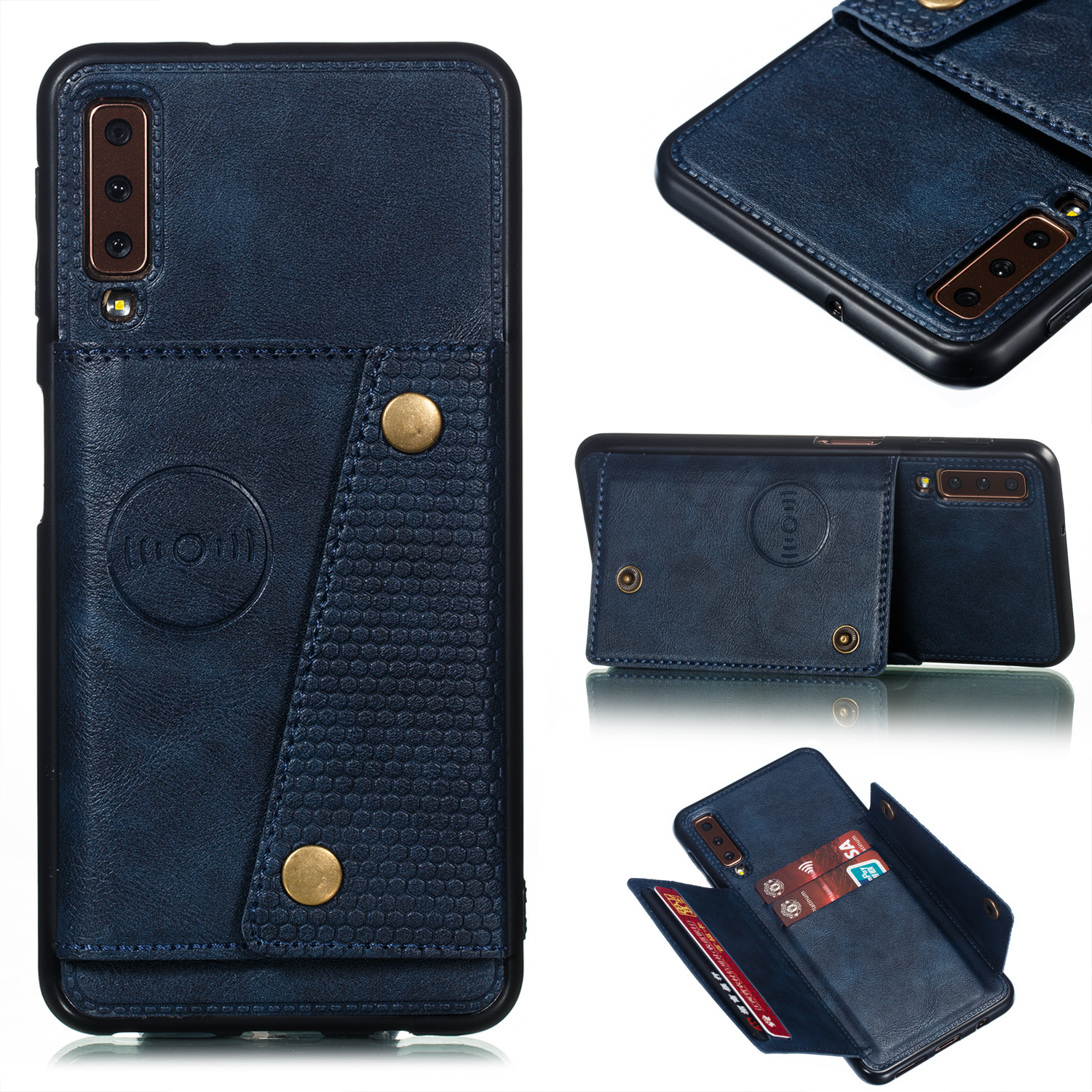 For Samsung A750/A7 2018 Double Buckle Non-slip Shockproof Cell Phone Case with Card Slot Bracket blue