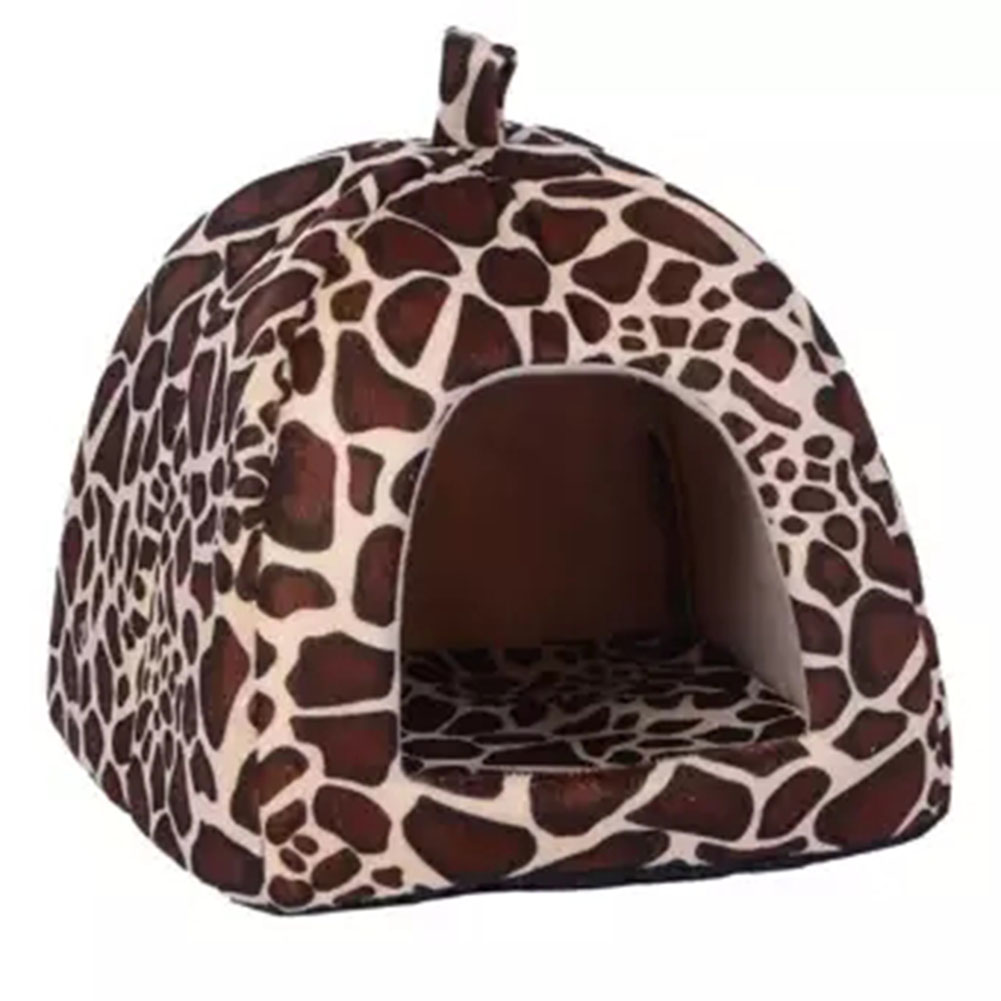 Comfortable Plush Sleeping Nest Soft Cage for Pet Cats Dogs Leopard print_S