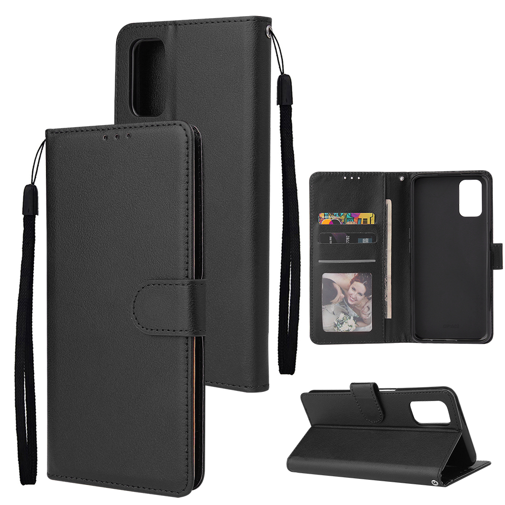 For OPPO A52/A72/A92 PU Leather Protective Phone Case with 3 Cards Slots Bracket black