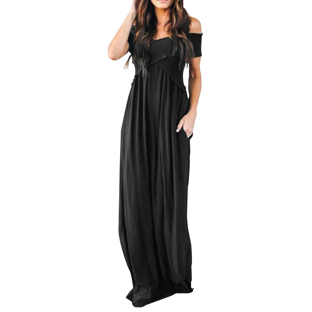 Women Off-shoulder Boho Long Maxi Dress Ladies Elegant Cocktail Party Dress